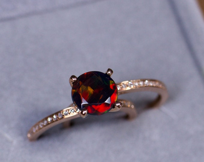 Red fire black opal, opal engagement ring, 14K gold opal rings, black opal bridal, fire opal wedding set, rare Black opal, black fire opal