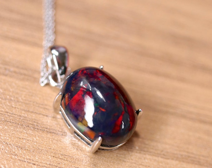 Black opal cabochon, gemstone pendant, unique fire opal, natural black opal, silver opal necklace, anniversary gift, birthday gift for her