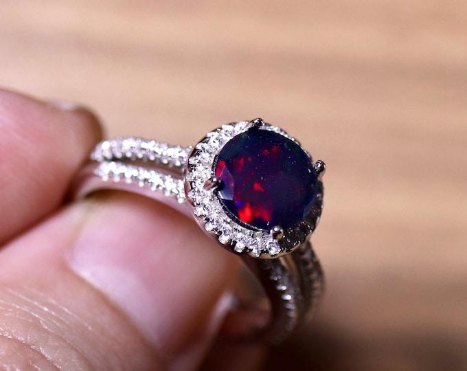 Black opal bridal set, opal halo ring, opal engagement ring, black fire opal ring, black opal wedding ring, silver ring set, opal ring