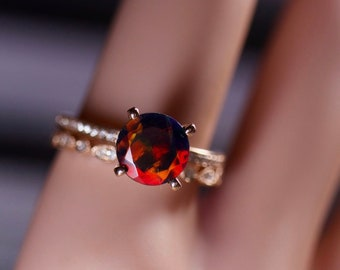 Black opal gold ring, 14k rose gold, bridal set, natural diamonds, paved wedding band, Fire opal ring, untreated solid opal, vivid red fire