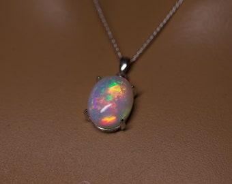 Large opal pendant, fire opal necklace, white opal, silver opal pendant, anniversary gift, graduation gift, rare gemstone,