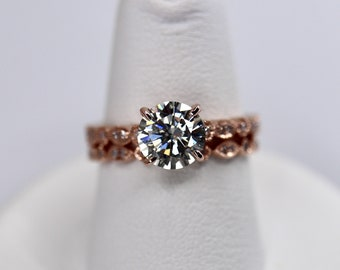 14K rose gold gray moissanite engagement ring, round brilliant cut moissanite with hearts and arrows, Art Deco band, natural diamonds paved