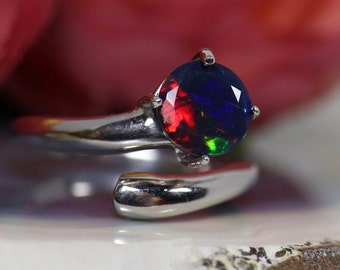 Natural black opal ring, silver black Opal ting, black fire opal ring, genuine black opal, black fire opal ring, fire opal ring, opal ring