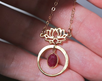 Vermeil ruby pendant, natural ruby jewelry, birthday gift, mom birthday, sterling silver, genuine ruby, yellow gold filled, lotus pendant