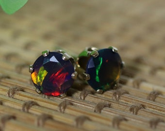Black fire opal earrings, gold filled stud earrings, red opal, minimalist earrings, opal stud earrings, opal jewelry, natural black opal