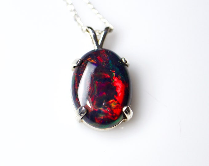 Black opal necklace, fire opal pendant, 925 sterling silver, black opal pendant, anniversary gift, red opal, fire opal, white gold plated,