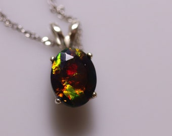 Black opal pendant, natural fire opal, black opal necklace, opal jewelry, genuine black opal, October birthstone, gift for her, fire opal