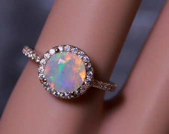 Opal bridal ring, gold opal ring, opal wedding rings, halo opal ring, diamond opal ring, opal engagement ring, moissanite ring, opal wedding