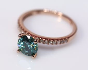 Gold engagement ring, blue moissanite, bridal set, wedding moissanite, 14K rose gold, natural diamonds, wedding rings, moissanite bridal