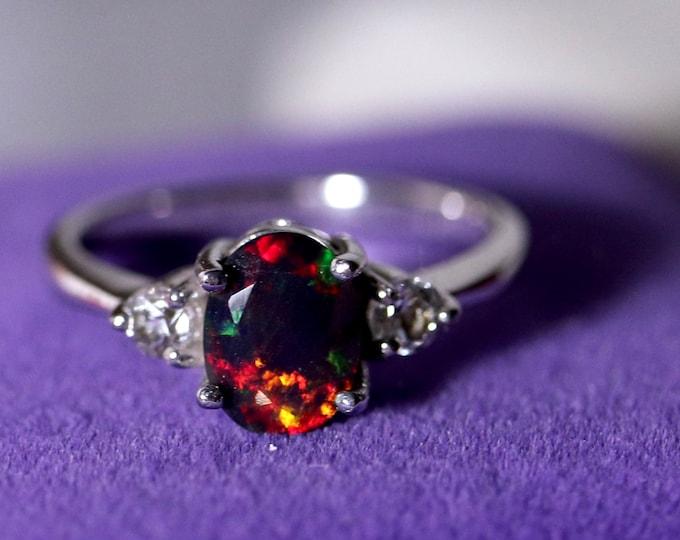 Black opal ring, opal wedding ring, bridal rings, opal engagement ring, rings for women, bridal, promise ring, rare black opal, opal rings