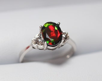 Dainty black opal ring, silver ring, fire opal ring, black fire opal ring, genuine black opal, wedding ring set, engagement ring, black opal