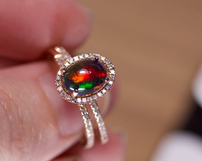 Black opal gold ring, opal halo bridal, black opal wedding, rose gold opal, 14k gold engagement, diamond paved halo, natural diamond rings