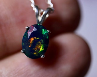 Black opal necklace, genuine black opal, fire opal pendant, pin fire opal, jewelry gift, ready to ship, black opal jewelry, dark gemstone