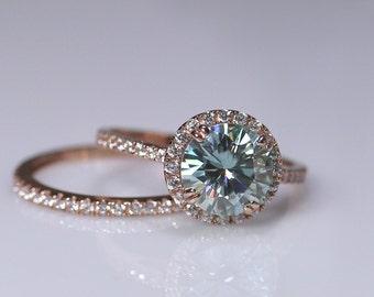 Moissanite bridal set, rose gold engagement ring, blue moissanite, wedding ring set, 14K gold, diamond ring, moissanite band, halo ring