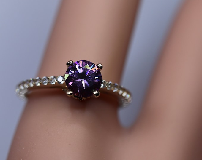 Gold moissanite ring, moissanite solitaire, blue moissanite ring, gold ring sale, jewelry on sale, discounted gold jewelry
