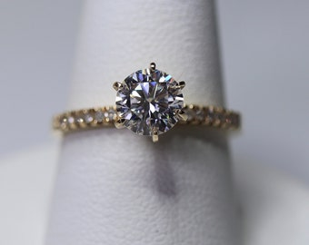 Gold engagement ring, moissanite ring, forever one, 14K gold wedding ring set paved with natural diamonds with matching solid gold band