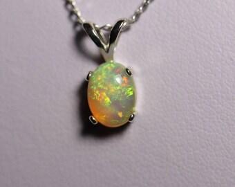 Cheerful fire opal necklace, honey fire opal, genuine Opal necklace, Cabochon opal pendant, fire Opal, Opal, silver Opal jewelry