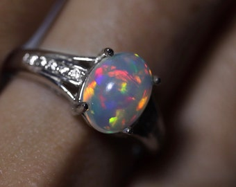 Natural opal engagement ring, rainbow opal ring, ethiopian opal, opal engagement ring, unique wedding ring, anniversary gift, welo opal