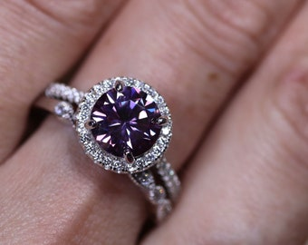 Bridal set, silver bridal set, purple moissanite, halo ring setting, diamond halo ring, moissanite ring, 925 sterling silver, diamond ring