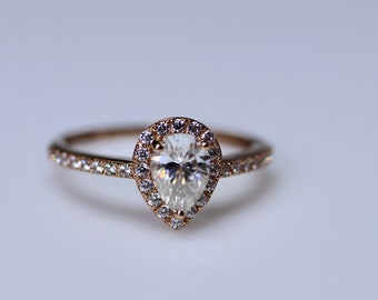 Pear shaped moissanite ring, moissanite engagement, pear solitaire, pear shaped halo, moissanite pear, dainty promise ring, pear wedding