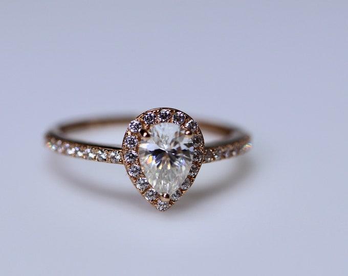 Pear shaped moissanite ring, moissanite engagement, pear solitaire, pear shaped halo, moissanite pear, dainty promise ring, pear wedding