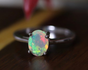 Classic white opal ring, fire opal ring, 925 sterling silver, opal jewelry, rainbow opal, opal solitaire, glowing opal, simple ring, opal