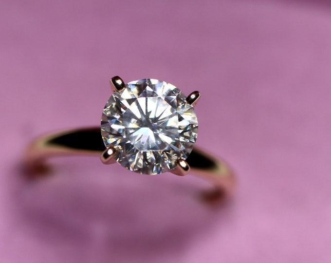 Moissanite ring, gold engagement ring, forever one, classic engagement, white moissanite, DEF, 14K Gold, moissanite bridal, gold solitaire