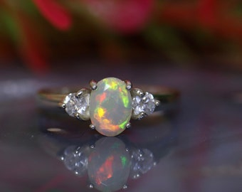 Delicate opal ring, fire opal ring, opal engagement ring, silver ring, minimalist ring, rainbow fire opal, promise ring, white opal