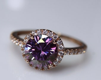 Purple moissanite, moissanite ring, halo engagement ring, special occasion, birthday gift, rings for her, gold halo ring, gray moissanite