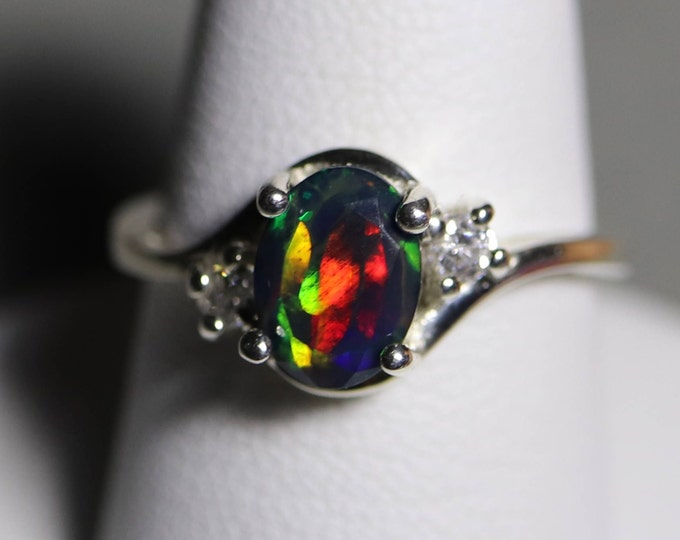 Black Opal ring, MIXED fire colors AAA fire opal, CZ accented setting,  fire opal ring, black fire opal, black opal, silver opal ring, opal