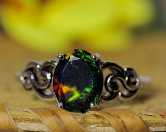 Black opal ring, anniversary ring, fire opal ring, natural black opal, Victorian opal ring, opal jewelry, gift for her, gifts for women