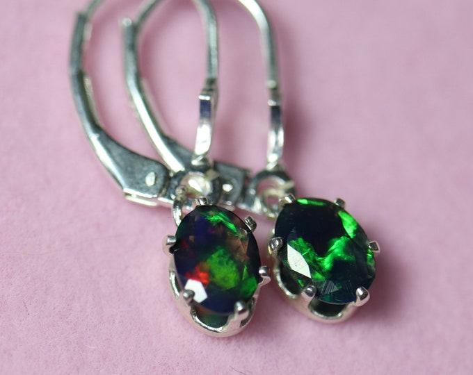 Green opal earrings, dangle opal earrings, natural black opal, black opal studs, dainty earrings, black opal Jewelry, fire opal earrings