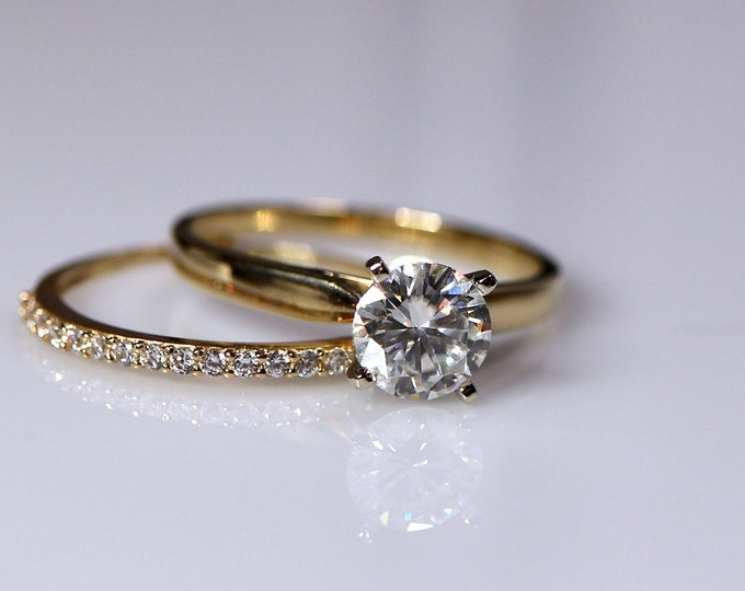 Cathedral style ring, gold engagement, moissanite wedding, bridal set, 14K gold wedding ring, classic engagement, moissanite ring,