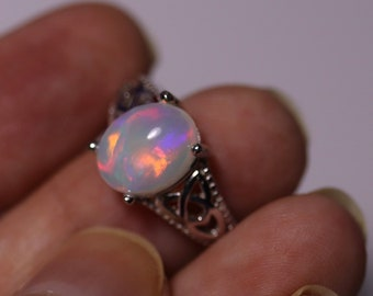 Fire opal ring, rainbow opal, large opal ring, pink opal, natural opal ring, Celtic ring, opal Celtic ring, promise rings, opal bridal ring