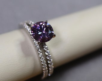 Purple moissanite, moissanite wedding, ring for her, bridal sets, pink gemstone, cathedral style, diamond paved ring, 925 sterling silver