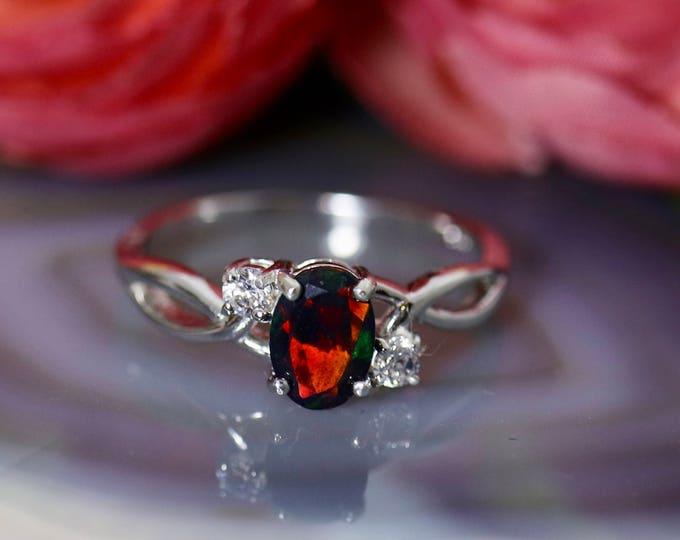 Lovely black opal engagement ring, black opal ring, fire opal ring, natural 0.7ct black fire opal, silver opal ring, engagement ring, opal