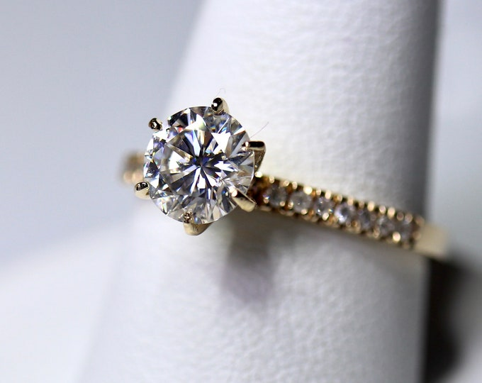 Classic moissanite engagement ring, 14k yellow gold, white colorless moissanite, traditional 6 prong design, forever one like quality, 1 ct