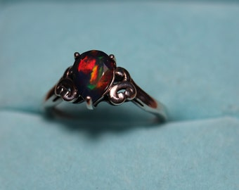 Black fire opal ring, black opal silver ring, dainty ring, natural black opal, rare opal, gift for her, anniversary gift, Victorian ring