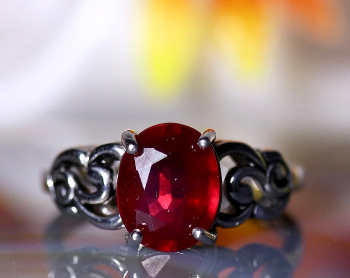 Natural ruby ring, silver ruby ring, Victorian ring, genuine ruby, Madagascar ruby, red gemstone, gift for her, birthday gift for women,