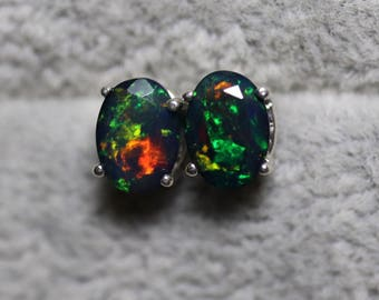 Black opal studs, black fire opal, opal jewelry, anniversary gift, natural opal earrings, opal studs, dainty earrings, fire opal studs