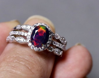 Black opal ring, opal bridal set, genuine black opal, opal bridal ring, 925 sterling silver, opal wedding ring, opal halo ring, black opal