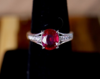 Ruby silver ring, natural ruby, last minute gift, birthday for her, ready to ship, gift for her, genuine ruby,