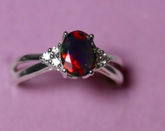 Dainty opal engagement ring, fire opal ring, black opal rings, genuine black fire opal ring, fine opal jewelry, unique wedding ring, rings