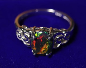 Victorian opal ring, black opal ring, black fire opal, unique opal ring, birthday gift for her, last minute gift, ready to ship, opal rings