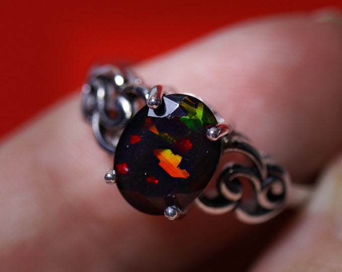 Black opal silver ring, fire opal ring, natural black opal, Victorian ring, unique opal ring, vintage opal ring, rings for women, opal ring