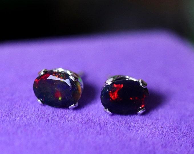 Fire opal earrings, opal stud earrings, fire opal studs, natural fire opal, black fire opal, black opal earrings, red fire opal, opal studs