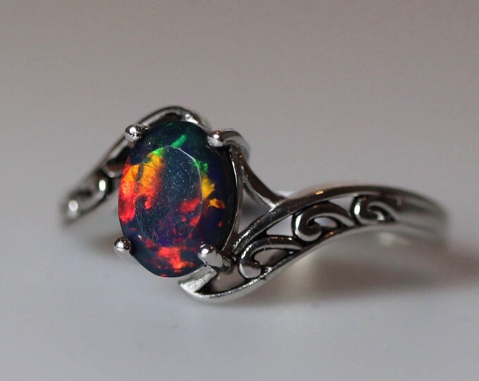 b6146f6d0 Natural black opal, fire opal ring, vintage silver jewelry, unique rings,  opal