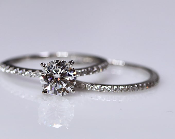 White moissanite, 925 sterling silver, classic engagement, moissanite wedding set, bridal rings, silver engagement, ring for her, bridal