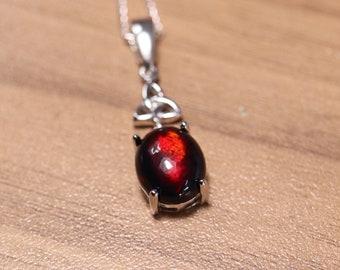 Black opal necklace, fire opal pendant, solid black opal, silver opal jewelry, gift for her, dark gemstone, natural fire opal, black opal