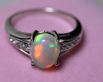 Rainbow opal ring, white opal ring, natural fire opal, opal engagement ring, fire opal ring, opal birthday gift, ring for women, opal rings